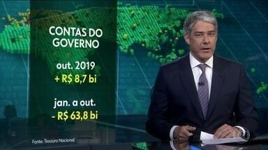 Contas do governo têm saldo positivo de R$ 8,7 bilhões em outubro - Saldo acontece após seis meses de resultados negativos. Rombo de quase R$ 64 bilhões acumulado desde janeiro é o mais baixo em três anos.