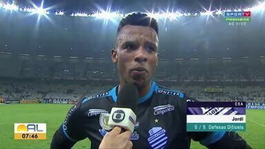 Com atuação de destaque, Jordi foi um dos grandes nomes do CSA contra o Cruzeiro - Goleiro falou sobre a vitória azulina por 1 a 0, no Mineirão