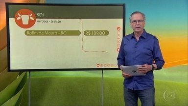 Confira o preço do café e a cotação do boi - Em Rolim de Moura, Rondônia, a arroba saiu na sexta-feira por R$ 189,00. Em Itapetinga, Bahia, R$ 190,00, Em Bauru, São Paulo, R$ 215,00. A saca do Arábica em Guaxupé, Minas Gerais, foi negociada na sexta-feira por R$ 505,00 alta de 4,1% na semana.
