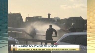 Pessoas comuns se arriscaram parar parar terrorista em Londres, na semana passada - Imagens mostram homens usando extintor de incêndio e pedaço de madeira para conter terrorista que estava com uma faca.