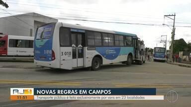 Transporte público é feito exclusivamente por vans em 23 localidades de Campos, no RJ - Hoje é o primeiro dia útil das novas regras do sistema de transporte público na cidade.