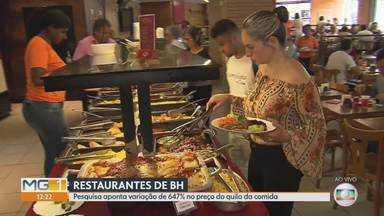 Pesquisa aponta variação de 647% no preço do quilo da comida em restaurantes de BH - Alta do gás de cozinha e da carne vermelha influenciaram no aumento do custo.