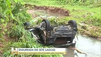 Encontrado corpo de motorista levado pela enxurrada em Minas; passageira é procurada - O carro foi encontrado a dois quilômetros do ponto onde foi engolido pelo córrego
