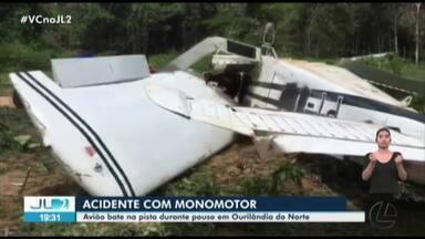Avião monomotor derrapa ao pousar em Ourilândia do Norte, no PA - O acidente ocorreu em uma pista dentro de área de garimpo, na comunidade indígena Peruana.