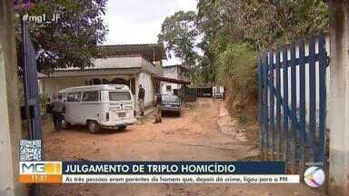 Julgamento de triplo homicídio ocorre nesta quinta-feira em Juiz de Fora - Marcos Ribeiro de Oliveira é acusado de ter matado os familiares em 7 de agosto deste ano. Disputa de imóvel foi apontada como causa do crime pelas investigações.