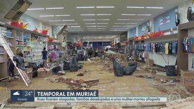 Mulher levada pela enxurrada em Muriaé é a 6ª vítima da chuva em Minas - Vítima morreu afogada embaixo de carro. Prefeitura decretou situação de emergência.