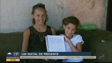 Meninas escrevem cartas pedindo cesta básica para ajudar a mãe a fazer o Natal da família - Meninas escrevem cartas pedindo cesta básica para ajudar a mãe a fazer o Natal da família