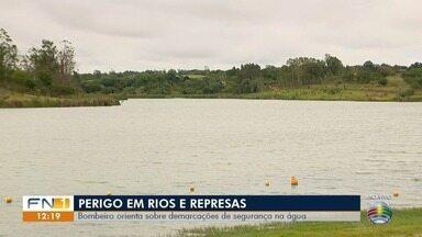 Bombeiros orientam sobre segurança em balneários no Oeste Paulista - Alerta é para os banhistas tomarem cuidado com as demarcações na água.