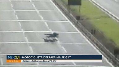 Motociclista derrapa na PR-317 - Acidente aconteceu na manhã de hoje.