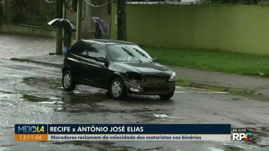 Meio Dia Paraná flagra acidente ao vivo no binário da Rua Recife - Moradores chamaram a nossa equipe pra pedir a instalação de um semáforo no cruzamento da Rua Recife com a Antônio José Elias.