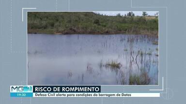 Defesa Civil alerta para riscos oferecidos por barragem em Datas - Equipe da Defesa Civil fez vistoria no local.