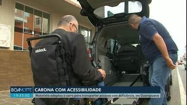 Motorista de Guarapuava cria carro com acessibilidade - Motorista adaptou o carro para transportar pessoas com deficiência.