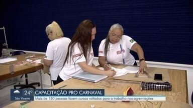 Moradores estão sendo capacitados para trabalhar no Carnaval Santista - Curso é uma parceria do Senai com a Liga das Escolas de Samba.