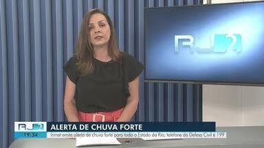 Instituto Nacional de Meteorologia emite alerta de chuva para todo o Estado do Rio - Norte e Noroeste Fluminense ficam em estado de atenção. Em alguns pontos, a chuva pode vir acompanhadas de forte rajadas de vento, raios e trovoadas.