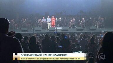 Heróis anônimos da tragédia de Brumadinho foram homenageados em Belo Horizonte - Dois homens que salvaram várias pessoas depois do rompimento da barragem da Vale foram aplaudiodos de pé pelos bombeiros.