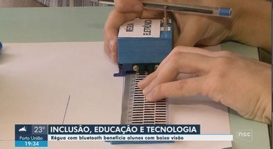 Régua com bluetooth facilita aprendizado de deficientes visuais em cidade do Sul de SC - Régua com bluetooth facilita o aprendizado de deficientes visuais em cidade do Sul de SC