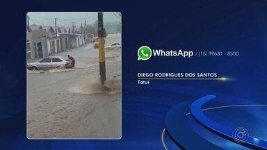 Enxurrada arrasta motociclista durante temporal em Tatuí - Uma enxurrada arrastou um motociclista durante o temporal que atingiu Tatuí (SP) na tarde deste sábado (14).
