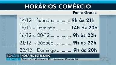 Comércio de Ponta Grossa funciona até as 20h neste domingo (15) - Durante a semana, lojas atendem das 9h às 22h.
