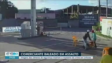 Comerciante é baleado em assalto em Linhares, ES - Imagens mostram o momento do crime.