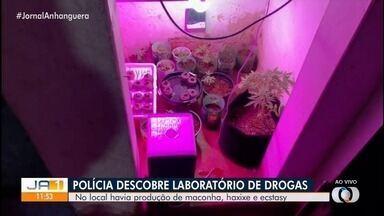 Polícia descobre laboratório de drogas em Goiânia - Local tinha até iluminação especial para o cultivo de maconha. Drogas como haxixe e ecstasy também foram encontrados.