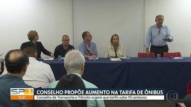 Conselho Transporte e Trânsito propõe aumento de 10 centavos na tarifa de ônibus de SP - Conselho municipal sugere tarifa de R$ 4,40 para aliviar desequilibrio nas contas do transporte público. Proposta será analisada pelo prefeito Bruno Covas.