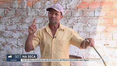 Moradores de dois bairros de Nova Lima reclamam de falta d'água - Eles dizem que estão sem abastecimento há 20 dias. Copasa informou que problema em bomba causou a interrupção do fornecimento de água, mas que a situação deve ser normalizada em poucos dias.