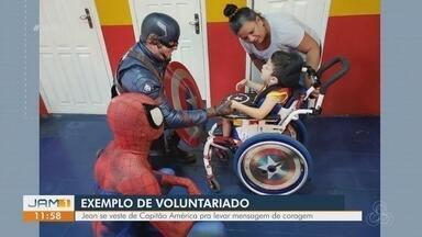 Conheça o cirurgião dentista que dedica parte do tempo como voluntário - Jean se veste de Capitão América para levar mensagem de coragem.