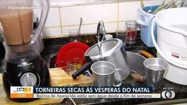 Moradores reclamam de falta de água em vários bairros de Aparecida de Goiânia - E como fica a ceia de Natal desse jeito?