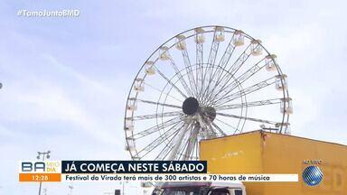 Festival da Virada começa no sábado e vai contar com mais de 300 atrações e 70h de música - Festa acontece entre os dias 28 de dezembro e 1º de janeiro de 2020, na orla da Boca do Rio, e vai ter o maior palco da história do evento, com quase 19 m de altura.
