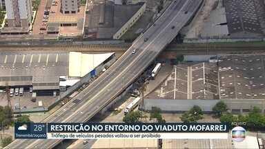 Tráfego de veículos pesados volta a ser proibido no entorno do Viaduto Mofarrej - Veículos eram autorizados a circular no entorno enquanto o viaduto passava por obras emergenciais