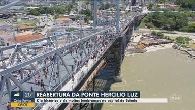 Ponte Hercílio Luz recebe milhares de visitantes na reabertura - Ponte Hercílio Luz recebe milhares de visitantes na reabertura