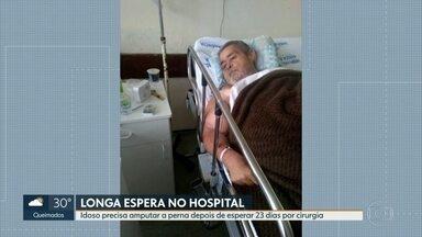 Idoso tem que amputar a perna depois de esperar 23 dias por cirurgia - Família diz que o quadro de saúde do idoso piorou, e reclama da falta de informações no hospital Souza Aguiar.