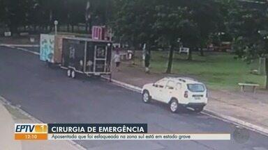 Aposentada esfaqueada está em estado grave em Ribeirão Preto - Vítima, que foi golpeada em uma praça da zona Sul, precisou fazer cirurgia de emergência na Santa Casa.