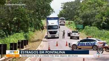 Três dias depois de alagamento em Pontalina, ponte de acesso a cidade continua interditada - Veja como está a situação das estradas de acesso a Pontalina.