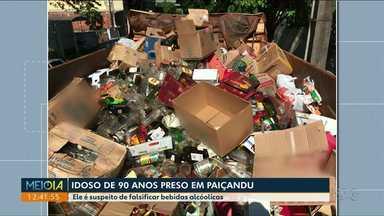 Idoso de 90 anos é preso por falsificar bebidas alcoólicas - Caso foi registrado em Paiçandu.