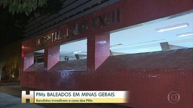 Polícia investiga crime contra casal de policiais militares de MG - Os dois estavam em casa, na região metropolitana de Belo Horizonte, quando foram rendidos por homens armados. Os bandidos atiraram duas vezes contra cada um dos PMs, que foram levados ao hospital em estado grave.