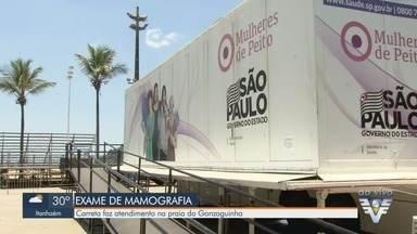 Carreta da mamografia realiza atendimento na praia do Gonzaguinha, em São Vicente - Atendimento acontece na Praça Tom Jobim.