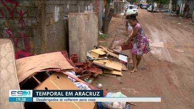 Aracruz, ES, continua sofrendo com estragos causados pelo temporal - Trinta e uma pessoas precisaram sair de casa.