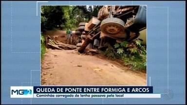 Caminhão tomba após ponte ceder na zona rural de Formiga; motorista não se feriu - Prefeitura avalia reconstrução da estrutura. Confira as rotas alternativas na área rural do município.