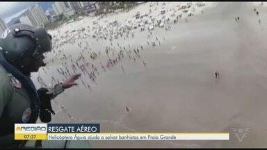 Câmeras da Polícia Militar registram o resgate de duas pessoas no mar - Acidente aconteceu em Praia Grande.