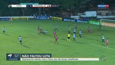 Vasco supera cansaço e expulsão, vence Itapirense e avança para as oitavas da Copinha - Resultado final ficou Vasco 1 a 0 Itapirense.