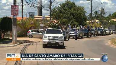 Moradores de Lauro de Freitas homenageiam Santo Amaro de Ipitanga, nesta quarta-feira - Ele é o padroeiro da cidade, que fica na Região Metropolitana de Salvador.