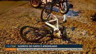 Suspeito de furtar bicicleta fica ferido ao ser atropelado por moto em Ponta Grossa - Acidente aconteceu na Av. Souza Naves. Motociclista também ficou ferido.