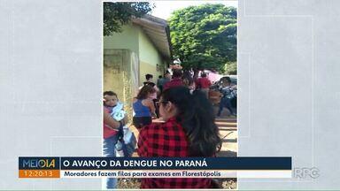 Telespectadores registram fila de pessoas a procura de exames em Florestópolis - A fila é de pessoas com suspeita de dengue que buscam pelo exame de sangue.