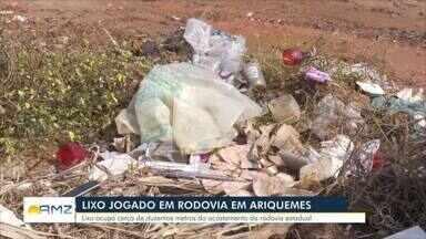 Motoristas reclamam de lixo às margens de rodovia 257 em Ariquemes - Secretaria de meio ambiente informou que limpará o local junto com a secretaria de obras.