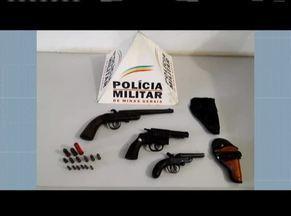 Polícia Militar apreende armas e munições na casa de um idoso em Simonesia - A apreensão foi no Bairro Nossa Senhora Aparecida, os materiais foram encaminhados para delegacia da cidade.