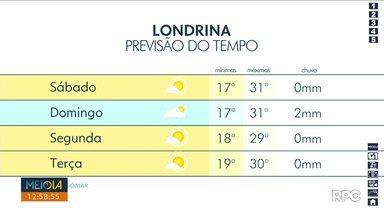 Tempo deve ficar instável em Londrina neste domingo (19) - A temperatura máxima deve chegar aos 31º na cidade.