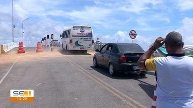 Trânsito na ponte entre Pirambu e Barra dos Coqueiros está liberado parcialmente - Trânsito na ponte entre Pirambu e Barra dos Coqueiros está liberado parcialmente.