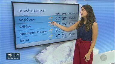 Confira a previsão do tempo para a região de Campinas neste domingo (19) - Dia deve ser abafado e com pancadas de chuva nas cidades. Em Campinas (SP), máxima chega a 27º C.