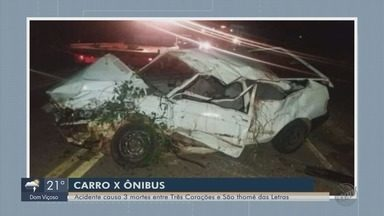 Carro bate em ônibus e deixa três mortos na LMG-862 - Carro bate em ônibus e deixa três mortos na LMG-862